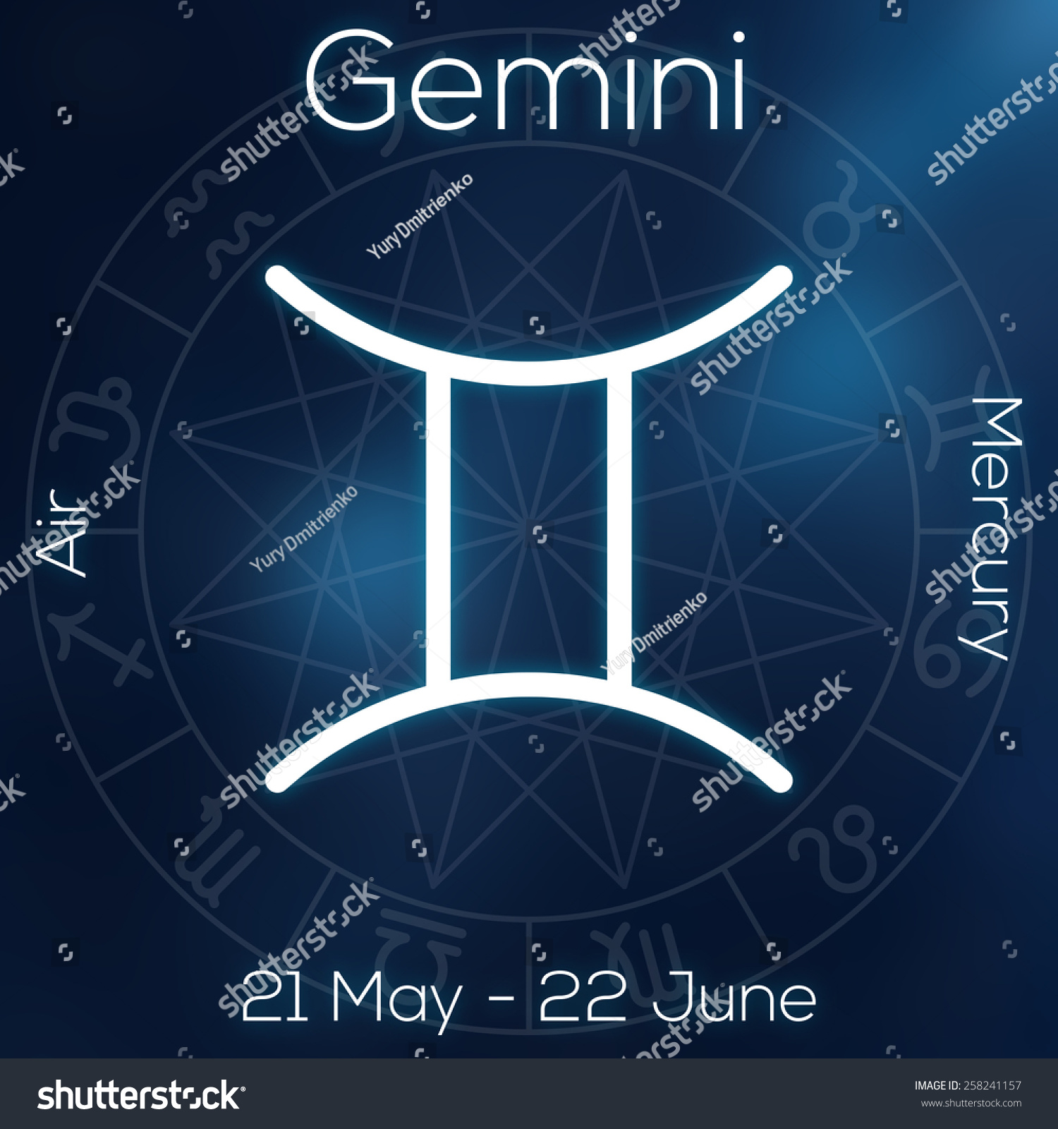 Zodiac Sign Gemini White Line Astrological Stock Illustration