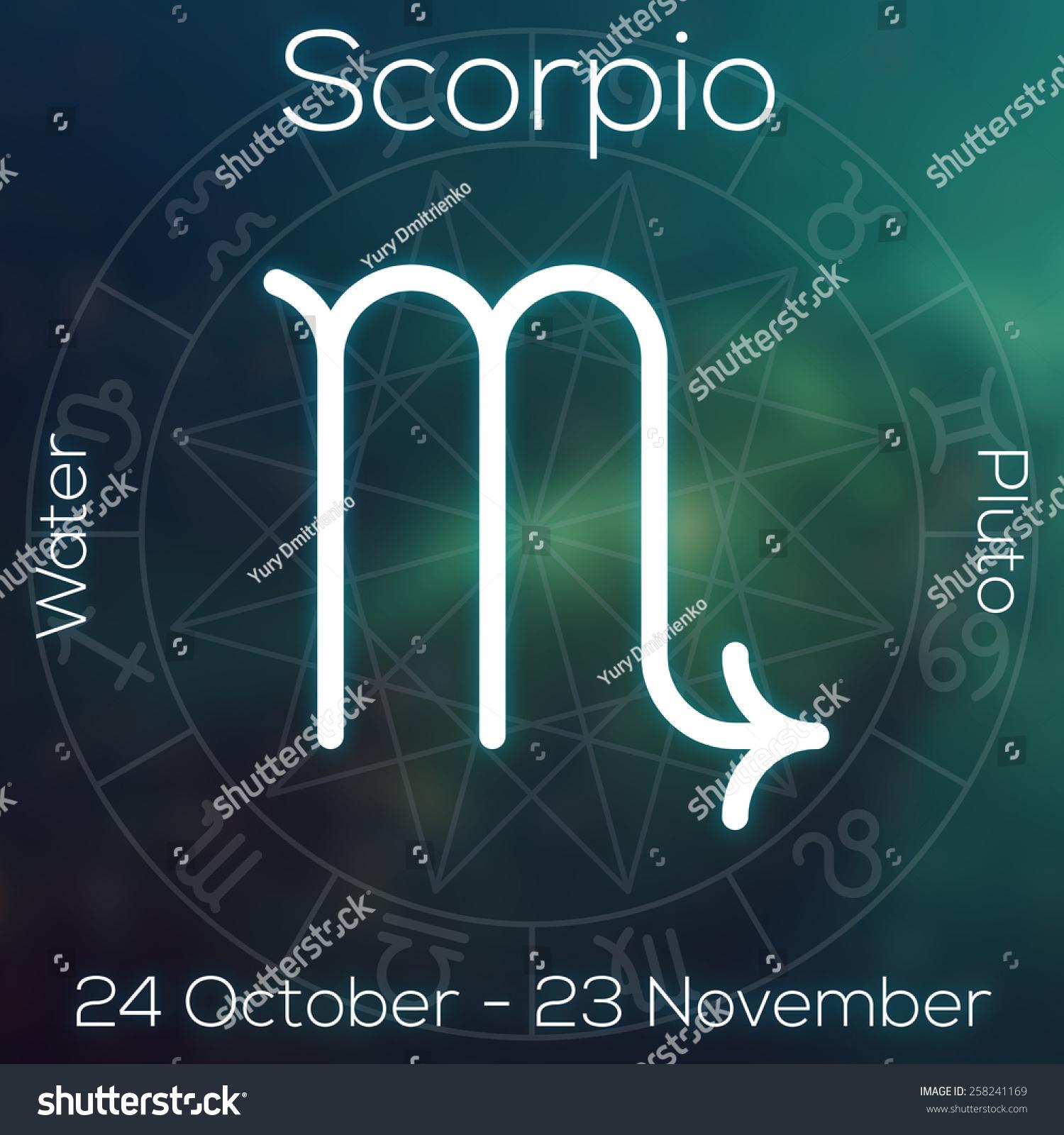 Zodiac Sign Scorpio White Line Astrological Stock Illustration
