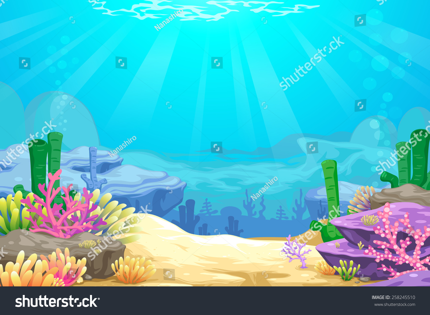 Stock Vector Under The Sea Vector Background