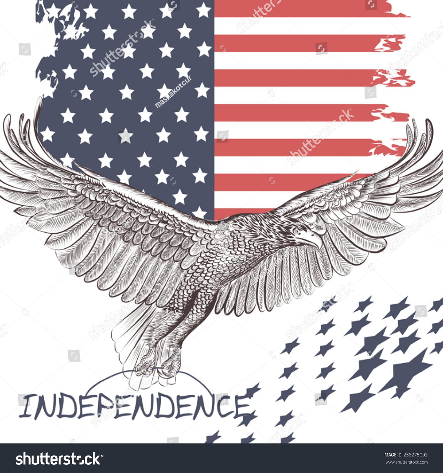 National Symbol Usa Flag Eagle Stock Vector Royalty Free 258275003