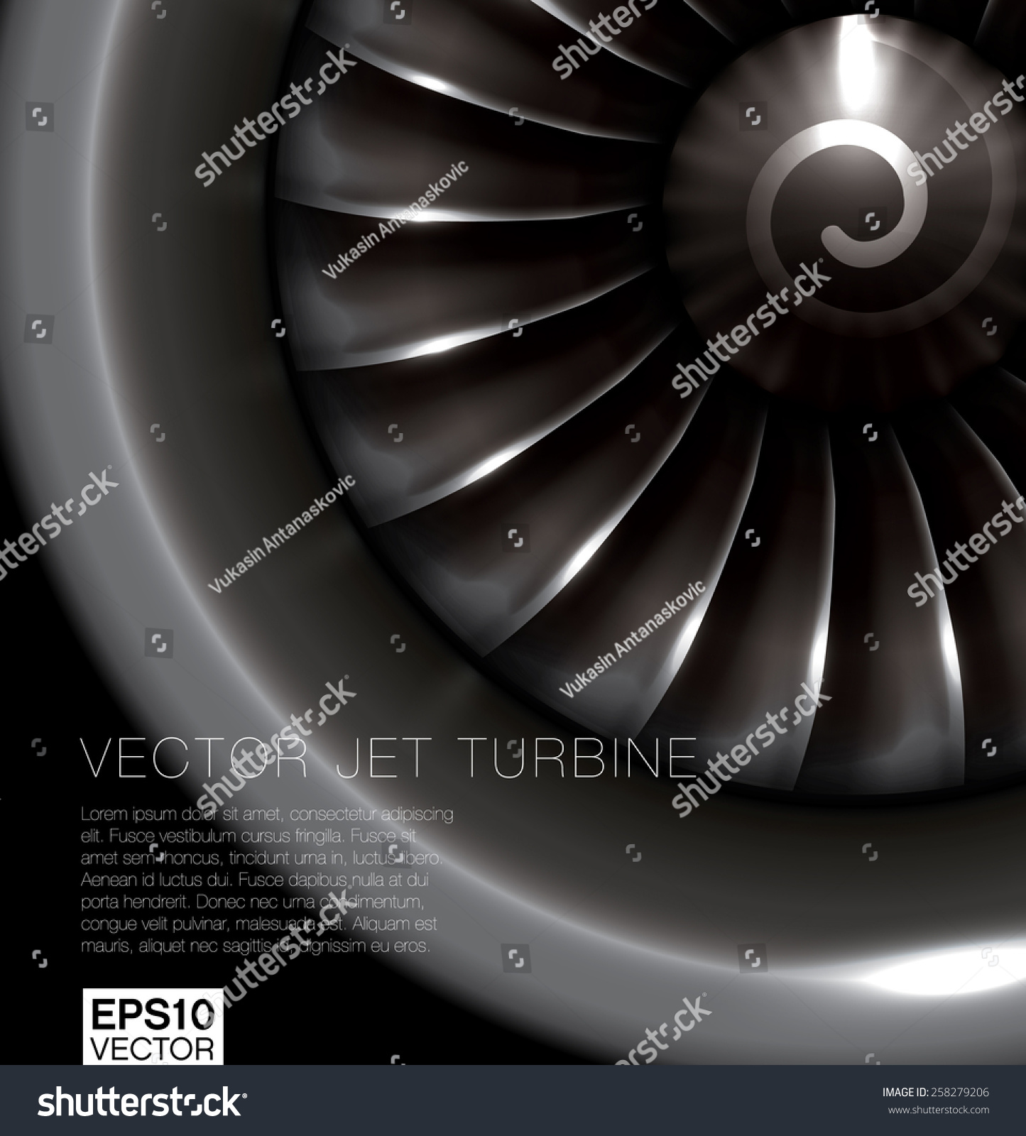 Jet Engine Realistic Vector Frontal View Stock Vector