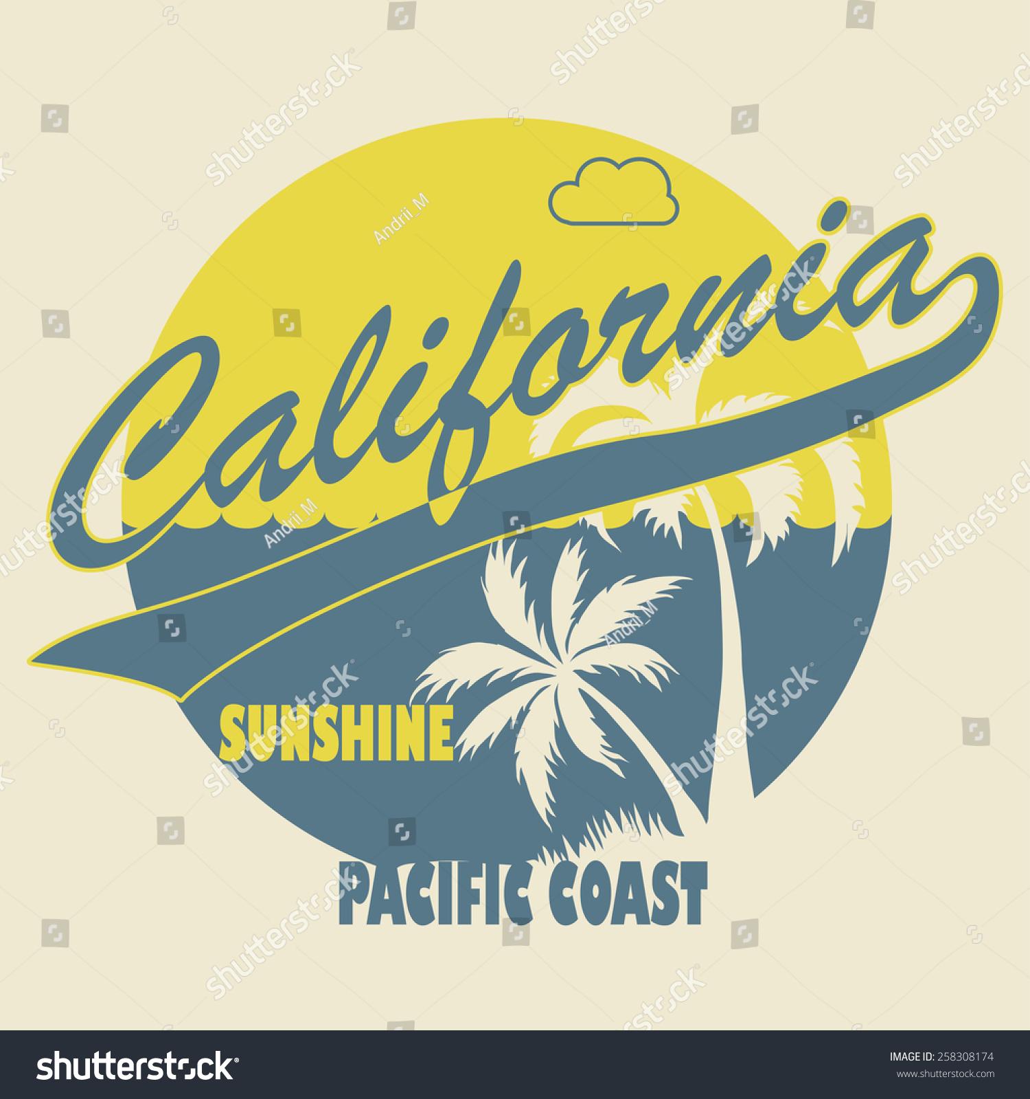 California Apparel Tshirt Fashion Design Palm Stock Vector