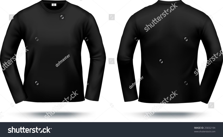 Shirt design black - Black Long Sleeved T Shirt Design Template Front Back Contains