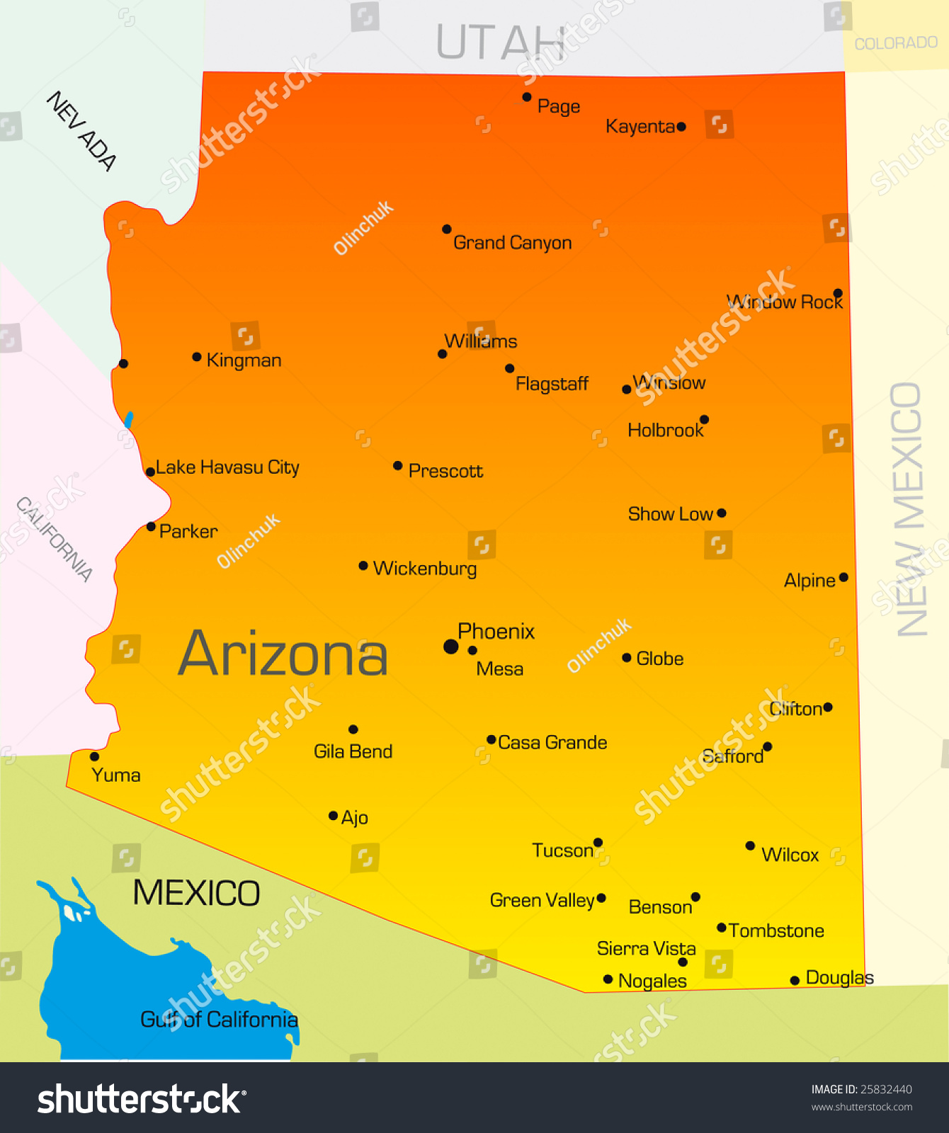 Vector Color Map Arizona State Usa Stock Vector - Arizona state map