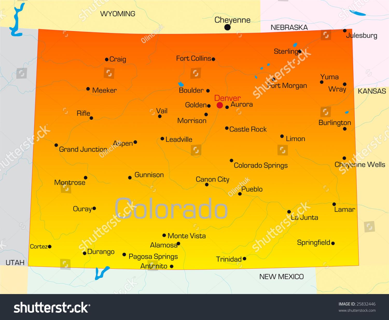Vector Color Map Colorado State Usa Stock Vector - Map of usa where is colorado