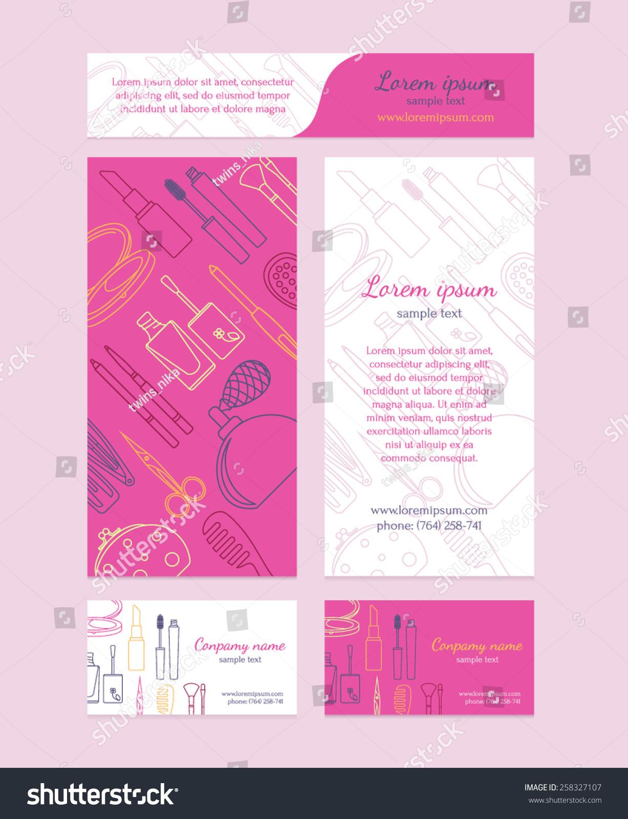 Beauty Salon Brochure Business Card Banners Stock Vector 258327107 ...