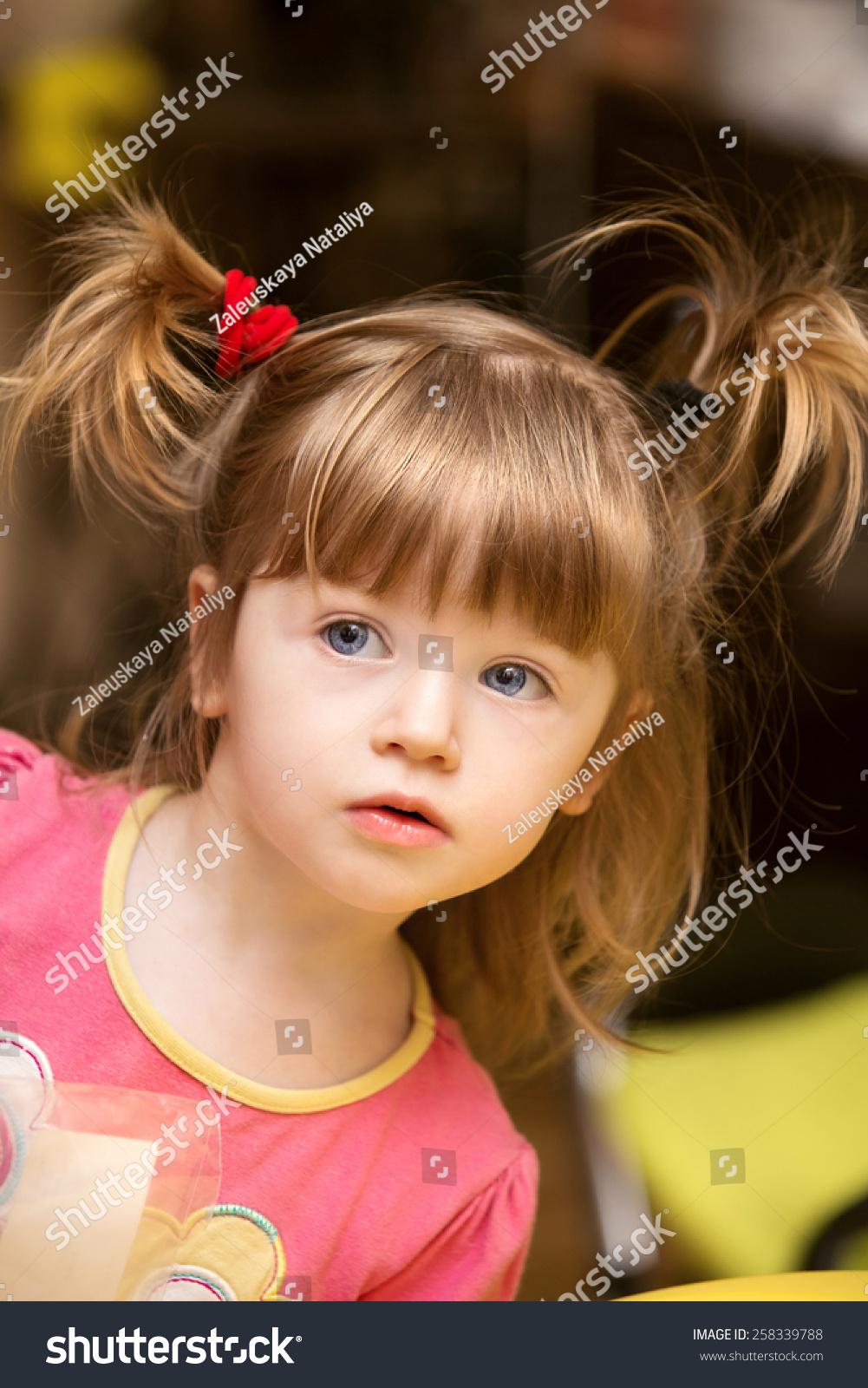 Cute Beautiful Little Girl Kid Two Stock Photo 258339788