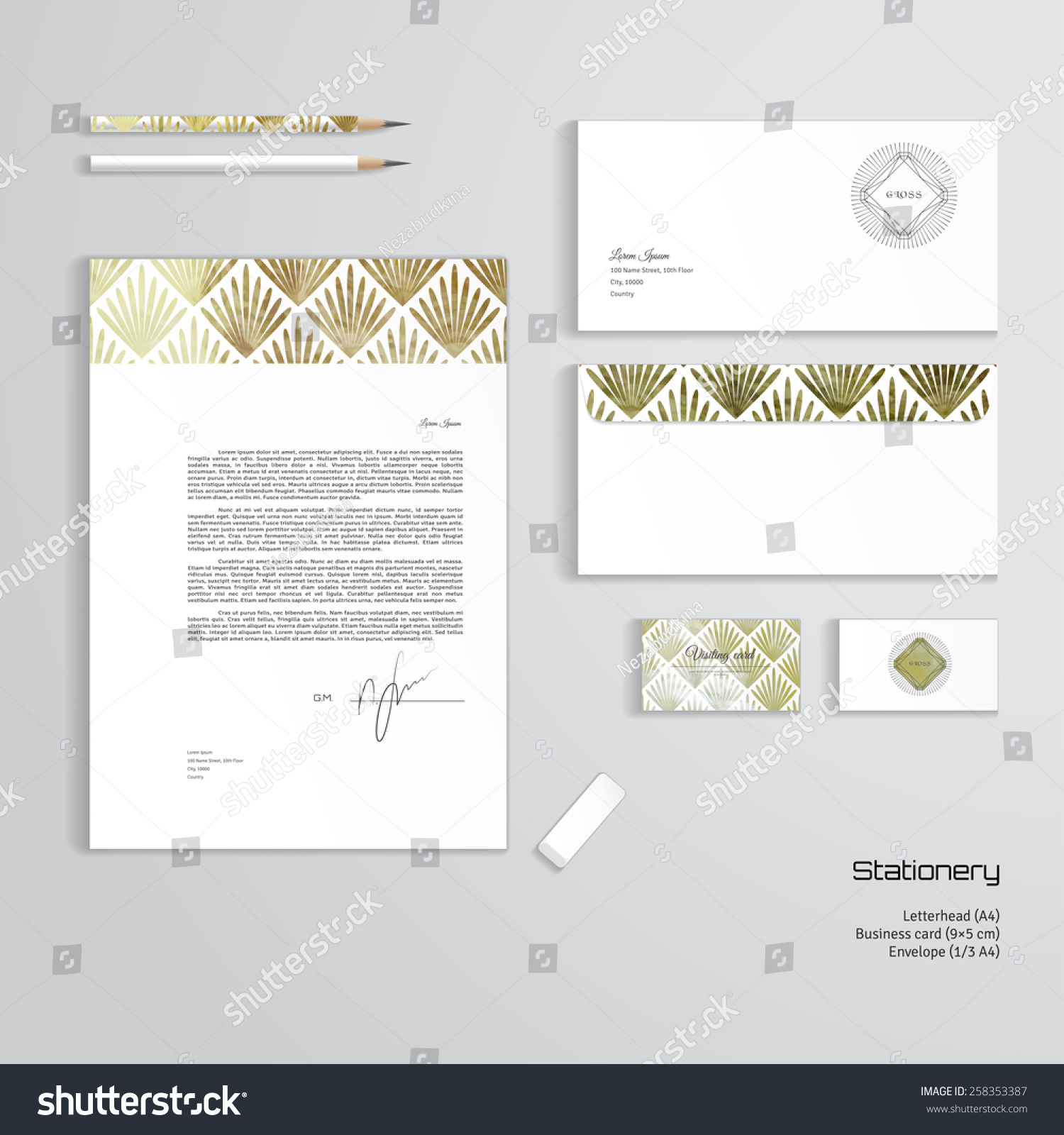 Vector corporate identity templates letterhead envelope stock vector vector corporate identity templates letterhead envelope business card pencils eraser wajeb Images