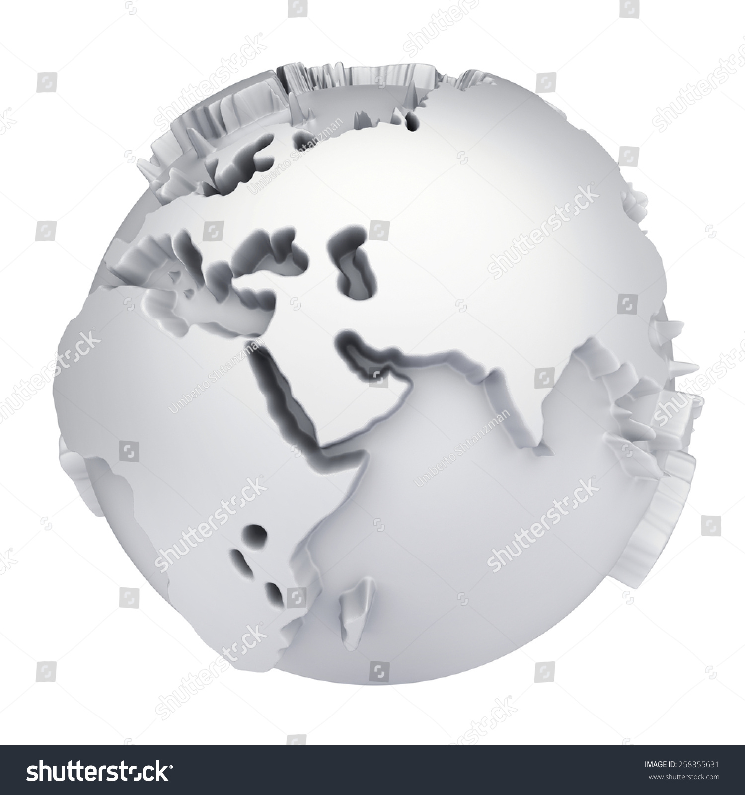 Earth world map africa europe asia stock illustration 258355631 earth world map africa europe and asia on a planet globe 3d concept gumiabroncs Image collections