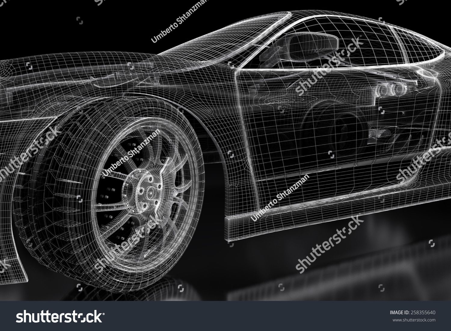Car vehicle 3d blueprint mesh model on a black background 3d car vehicle 3d blueprint mesh model on a black background 3d rendered image ez canvas malvernweather Gallery