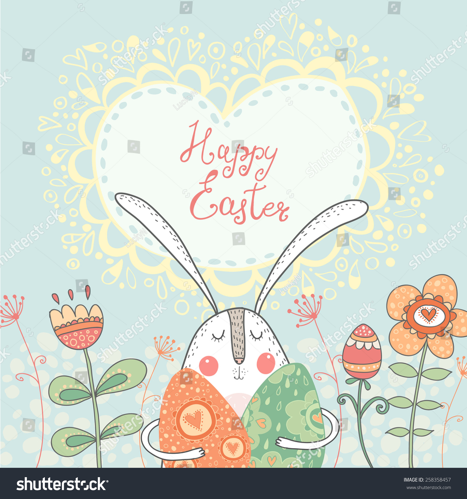 Bright Happy Easter Card Vectoreaster Rabbit Vector – Easter Postcard Template