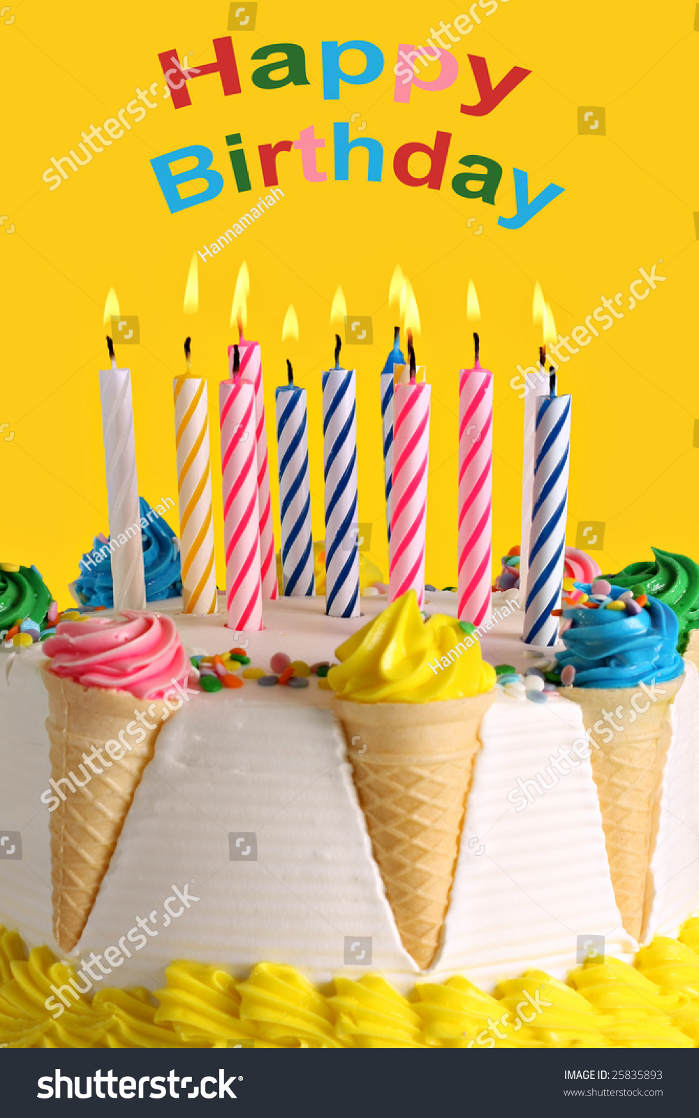 Birthday Cake Lots Candles Stock Photo 100 Legal Protection