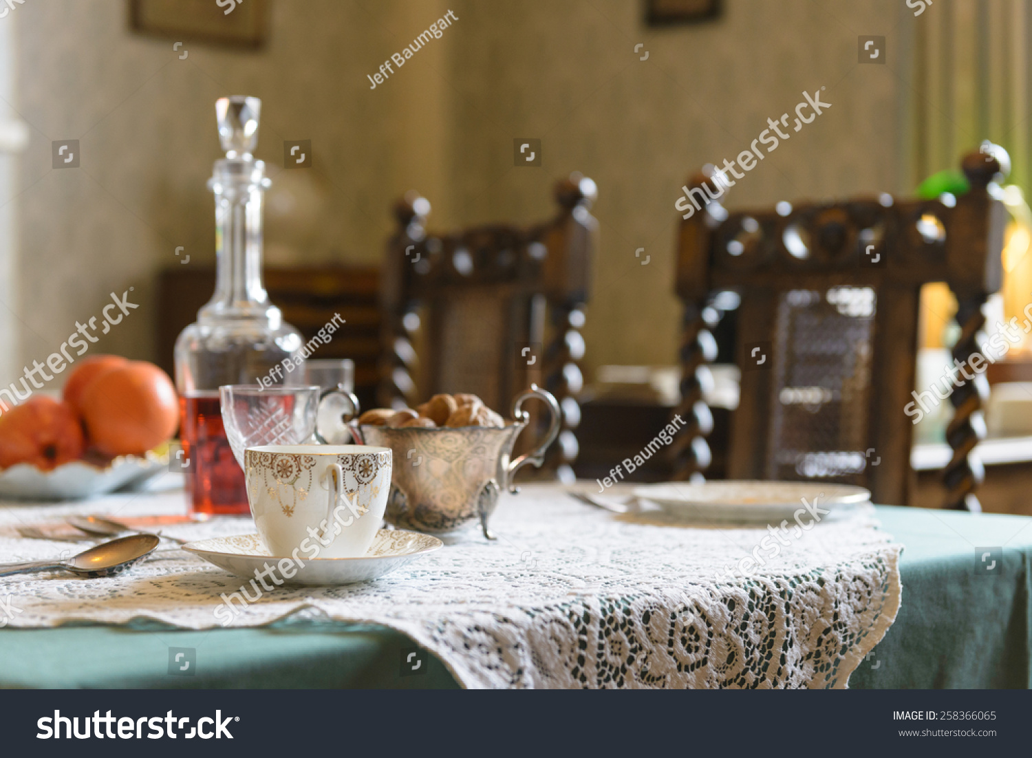 Vintage 1940 S Interior English Table Setting Stock Photo (Royalty Free) 258366065 - Shutterstock & Vintage 1940 S Interior English Table Setting Stock Photo (Royalty ...