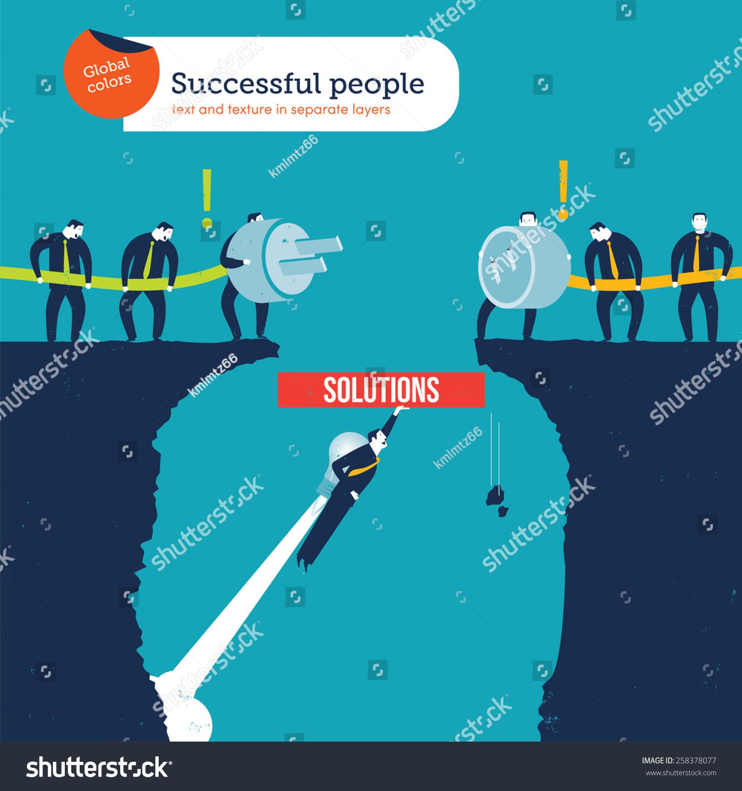 Businessmen Trying Connect Plug Socket Rocket Stock Vector