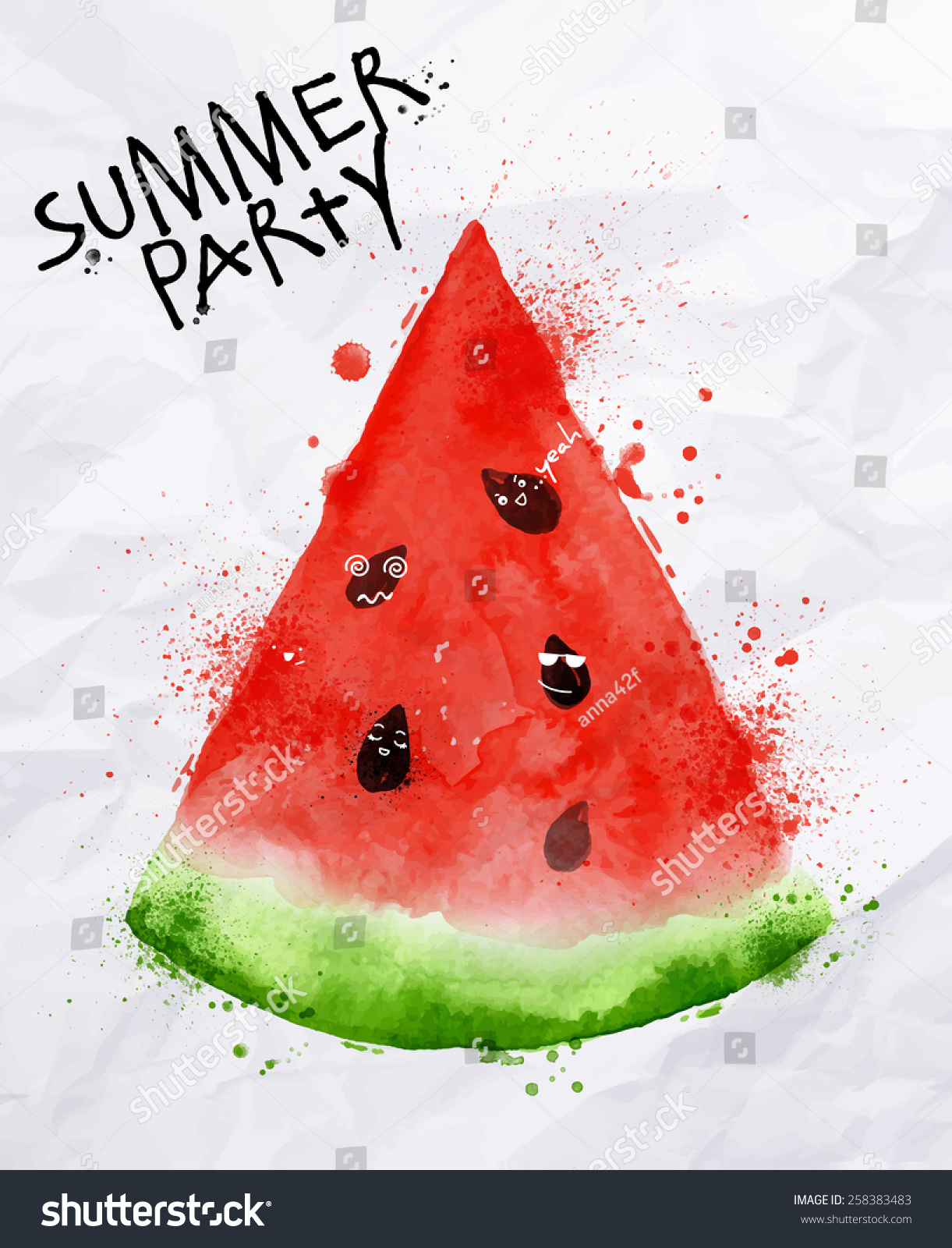 Poster Summer Party Slices Watermelon Seeds Stock Vector 258383483 ...