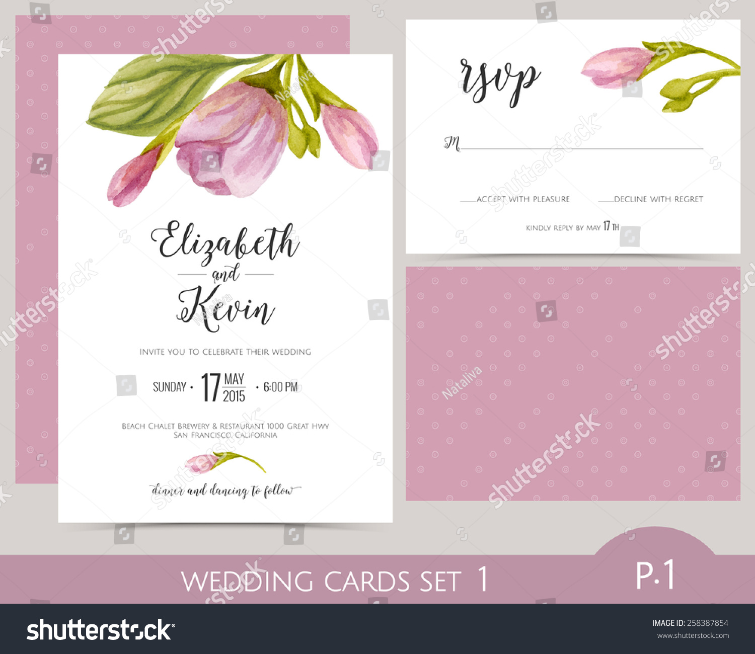 Wedding Card Set With Watercolor Flowers Invitation RSVP Cards