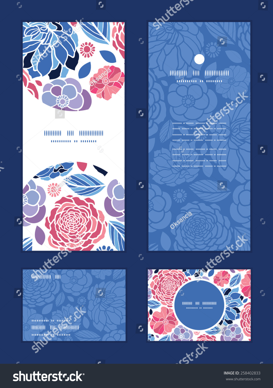 Vector Mosaic Flowers Vertical Frame Pattern Invitation Greeting