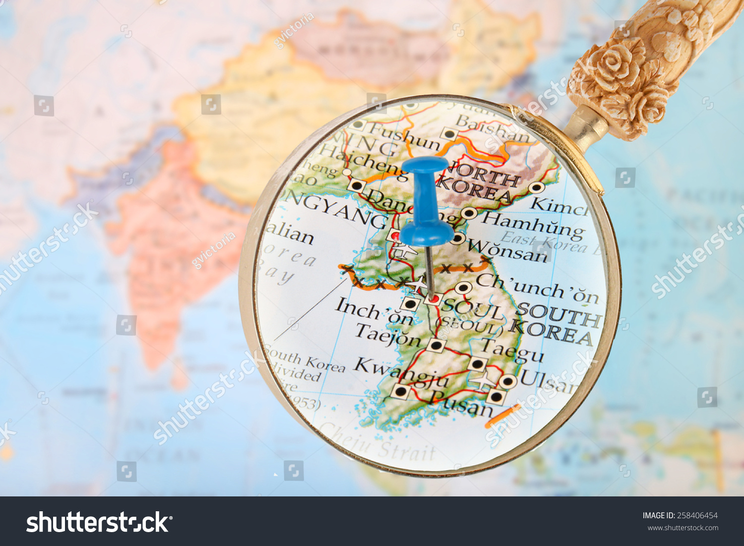 Blue Tack On Map Asia Magnifying Stock Photo Shutterstock - Haicheng map