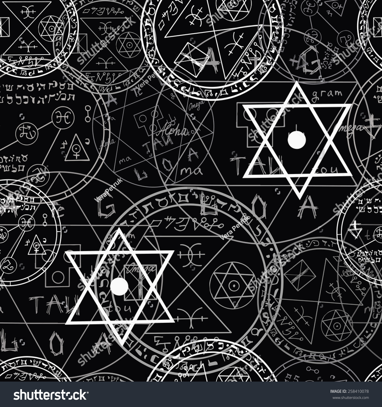 Occult Paranormal: Seamless Mystic Pattern Occult Symbols Pentacles Vectores