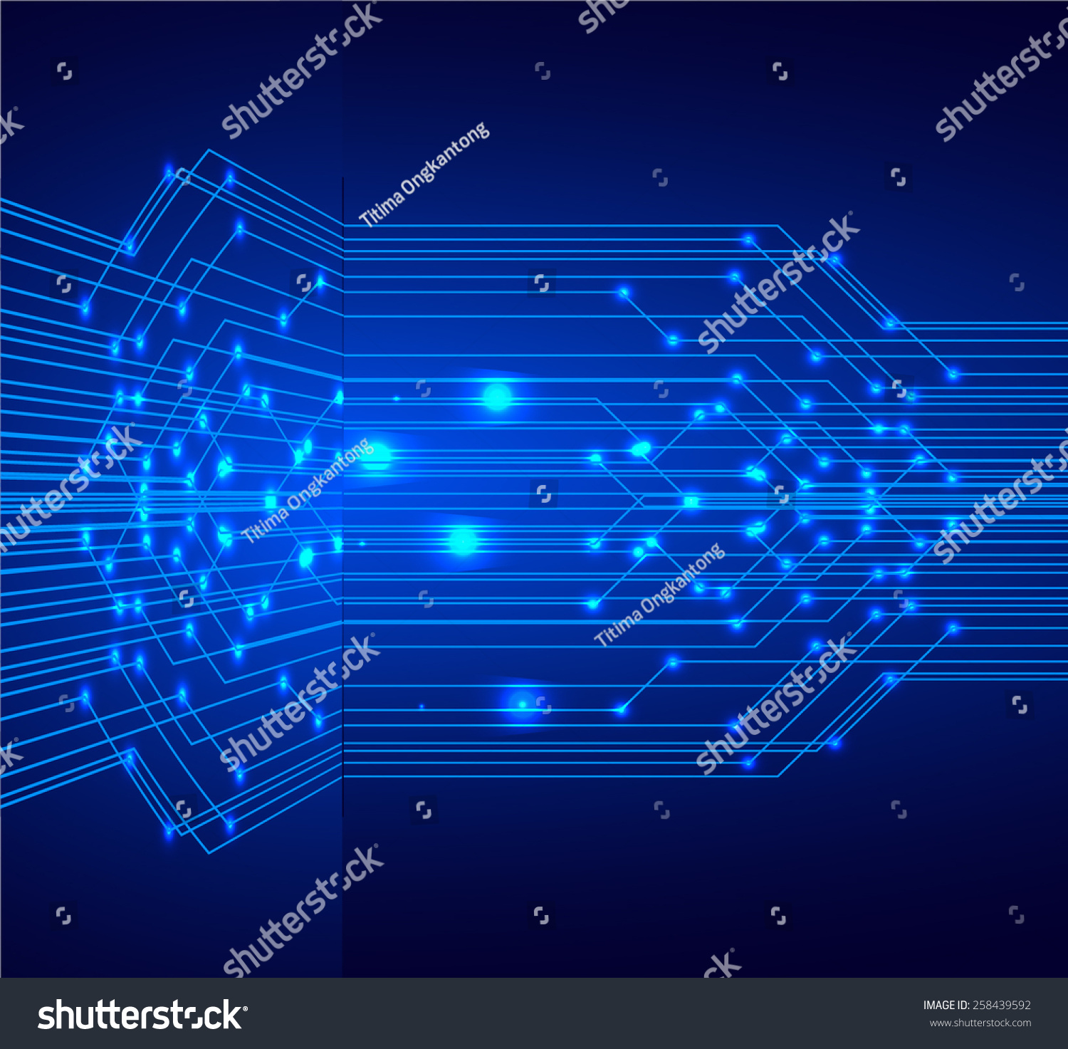 Blue Color Light Abstract Technology Background For Computer Code And Circuit Board Illustration
