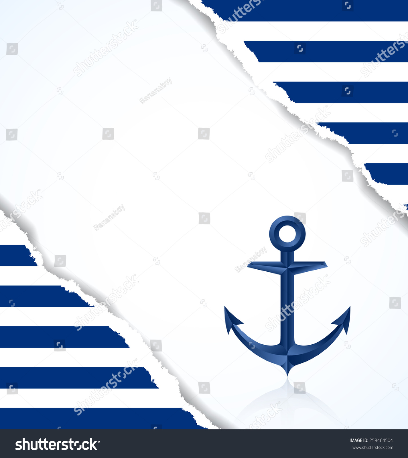 nautical background with anchor and blue and white stripes