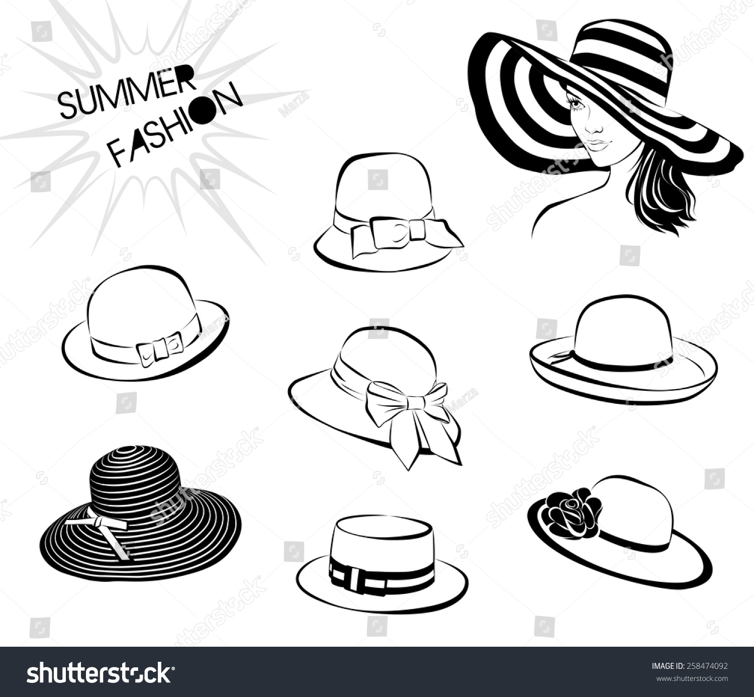 Beautiful Woman Big Hat Set Isolated Stock Vector (Royalty