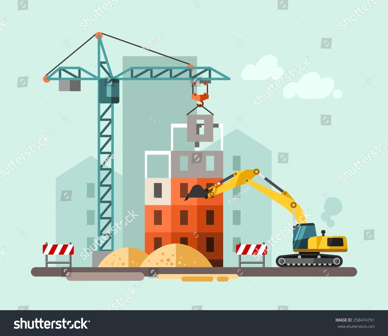Construction site building house vector flat stock vector for Home building sites