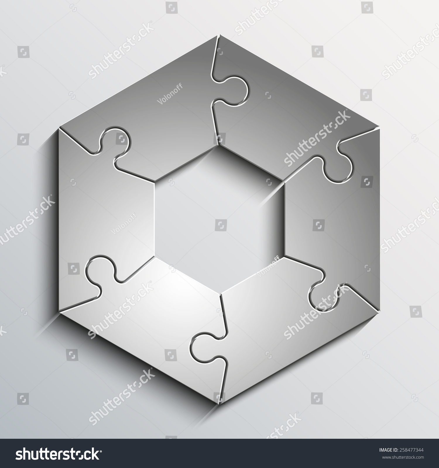 Sixpointed Figure Piece Flat Puzzle Round Stock Illustration ...