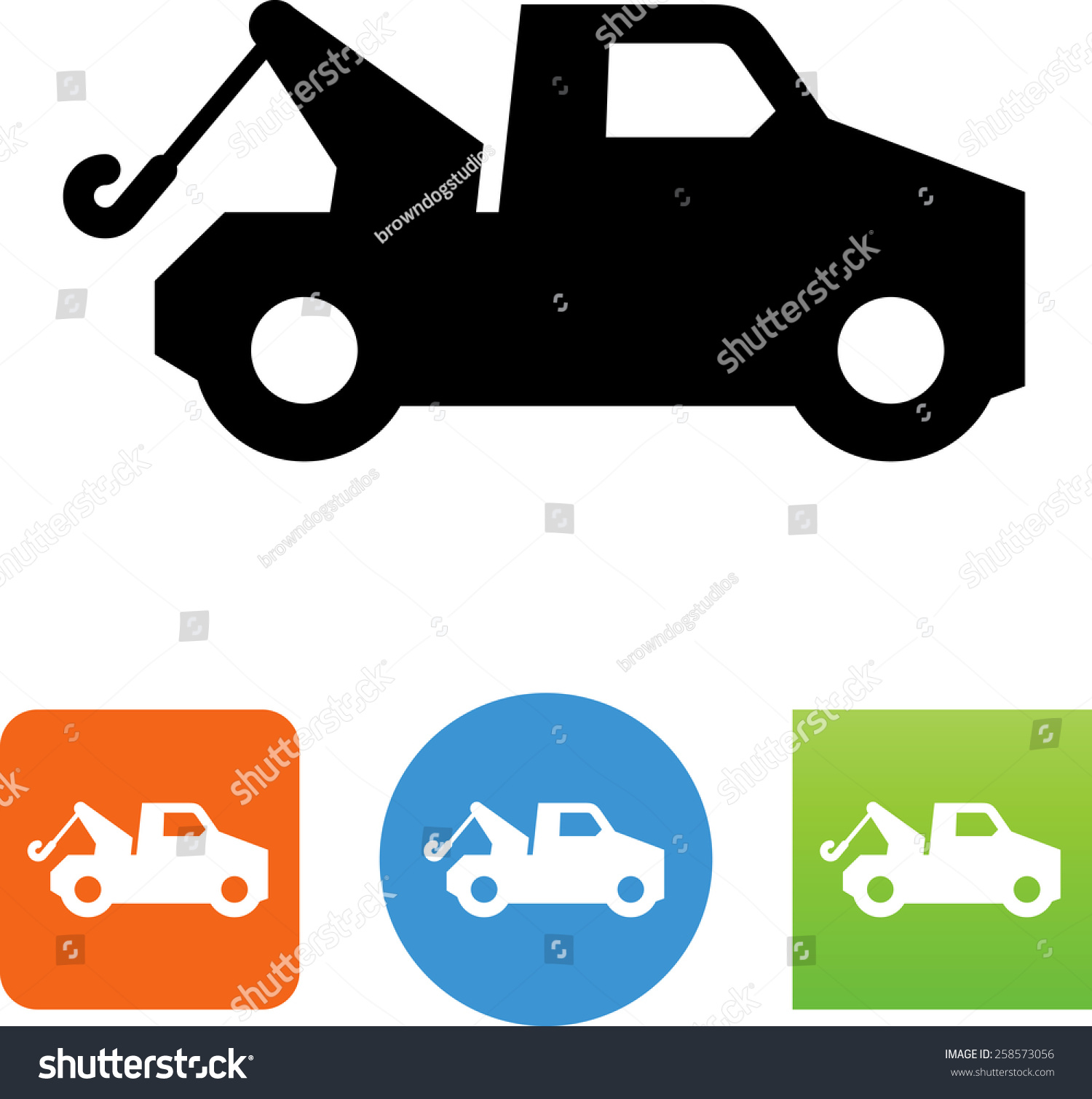 Towing Truck Icon Stock Vector Royalty Free 258573056 Shutterstock