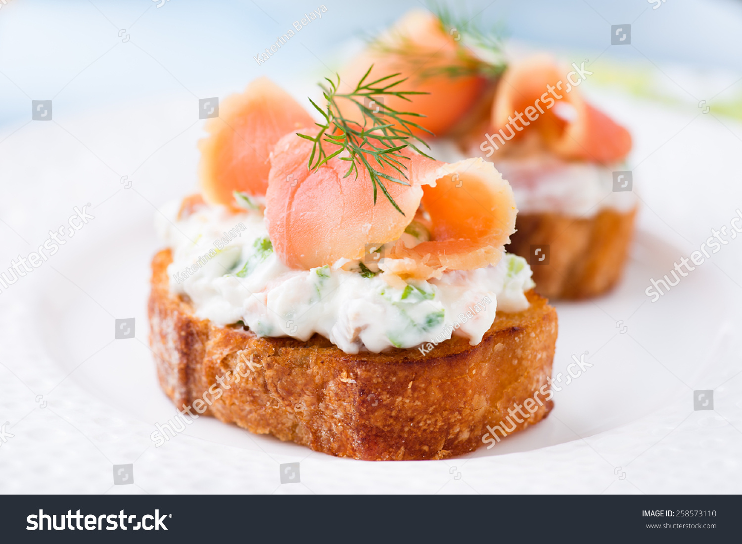 Canape with smoked salmon and cream cheese on plate for Smoked salmon cream cheese canape