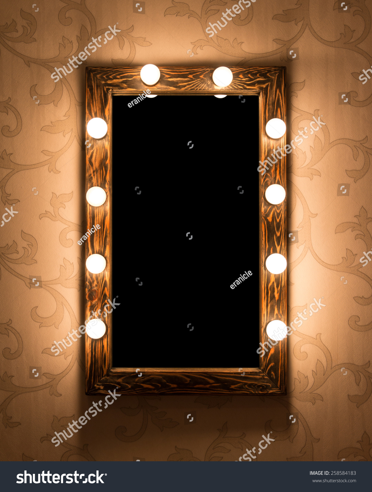 Woman's makeup place with mirror and bulbs #258584183