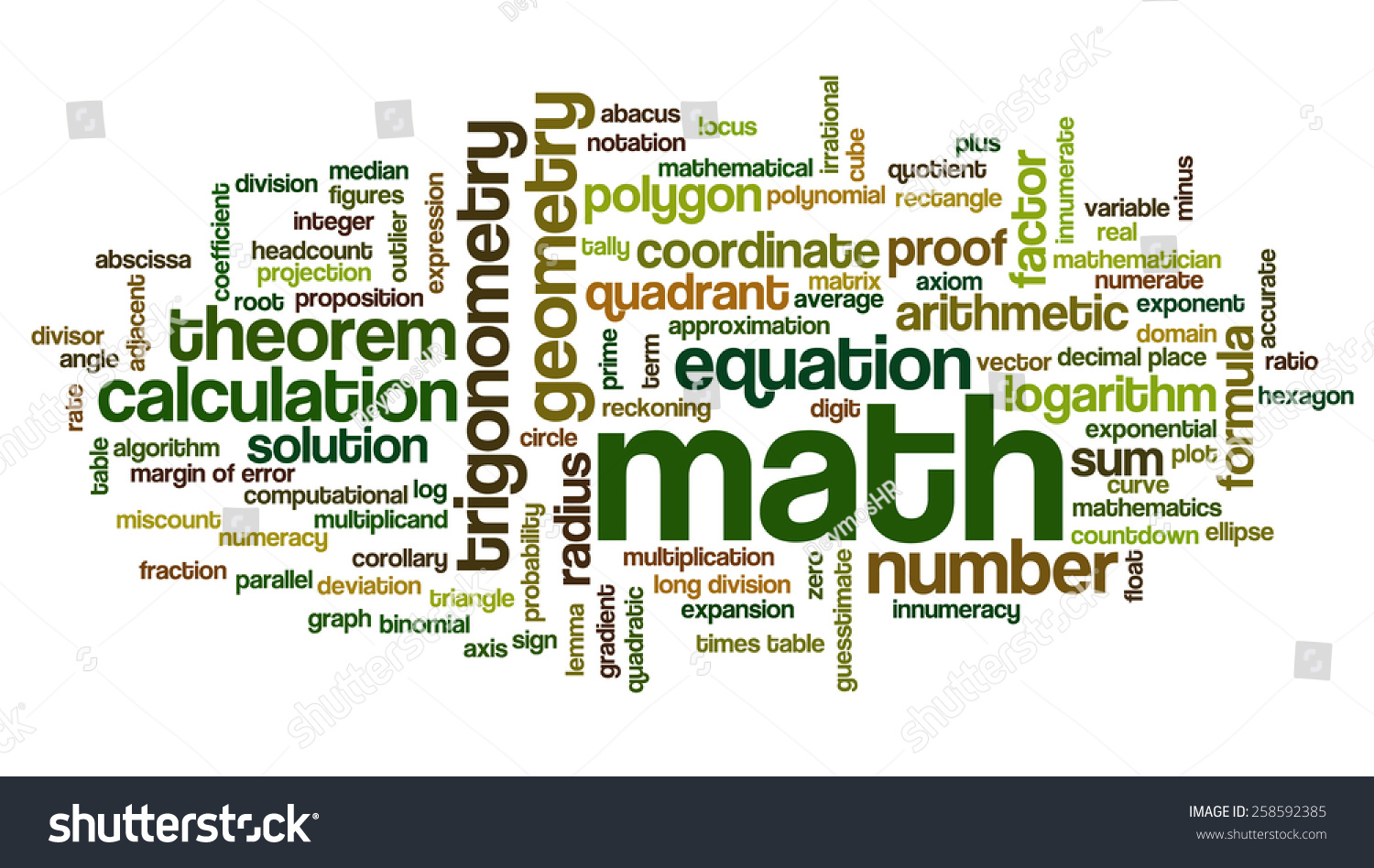 mathematical terminology with pictures Mathematics glossary » glossary print this page addition and subtraction within 5, 10, 20, 100, or 1000 addition or subtraction of two whole numbers with whole number answers, and with sum or minuend in the range 0-5, 0-10, 0-20, or 0-100, respectively.