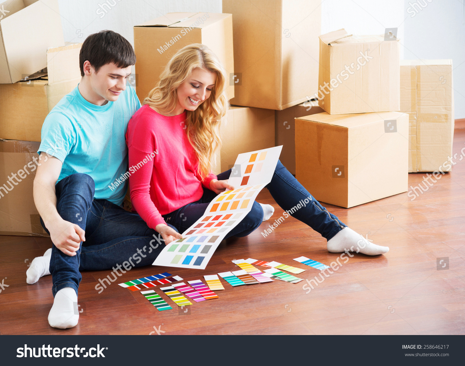 Young couple moving new home wife stock photo 258646217 shutterstock - Young couple modern homes ...