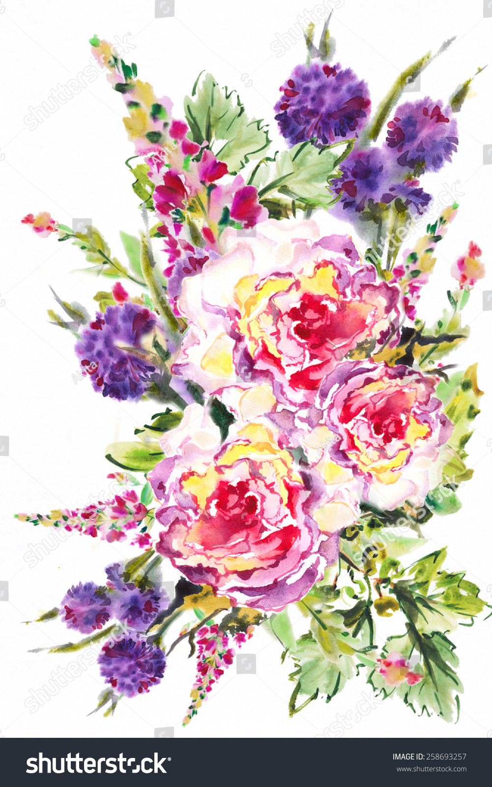 Bright Exotic Bouquet Flowers Drawn Watercolor Stock Illustration ...