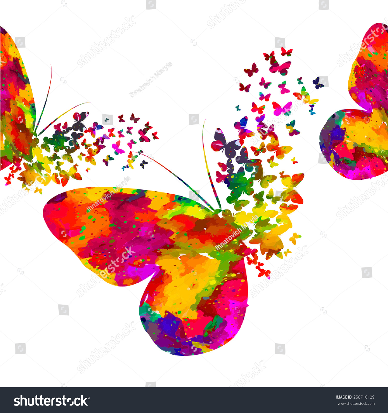 Colorful Abstract Watercolor Butterfly On White Stock