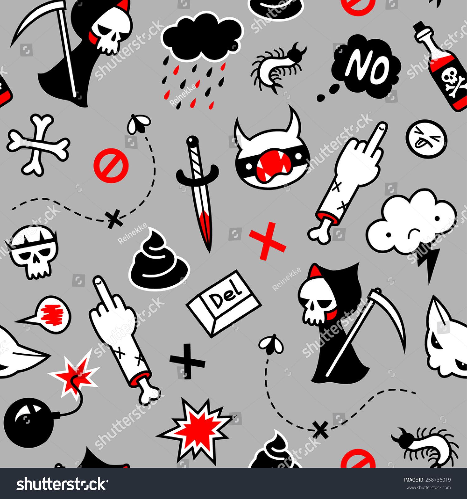 Modern Pattern Teenagers Symbols Depression On Stock Vector Royalty