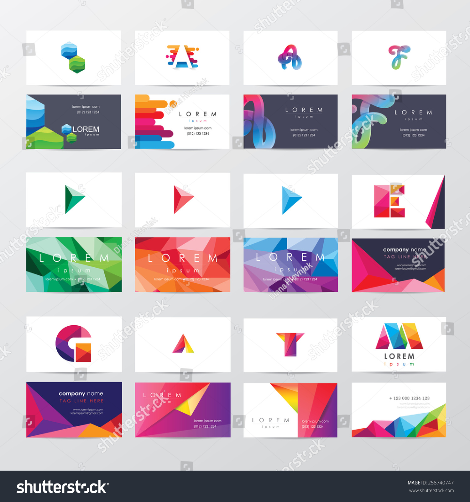 Large Collection Colorful Business Card Template Stock Vector ...