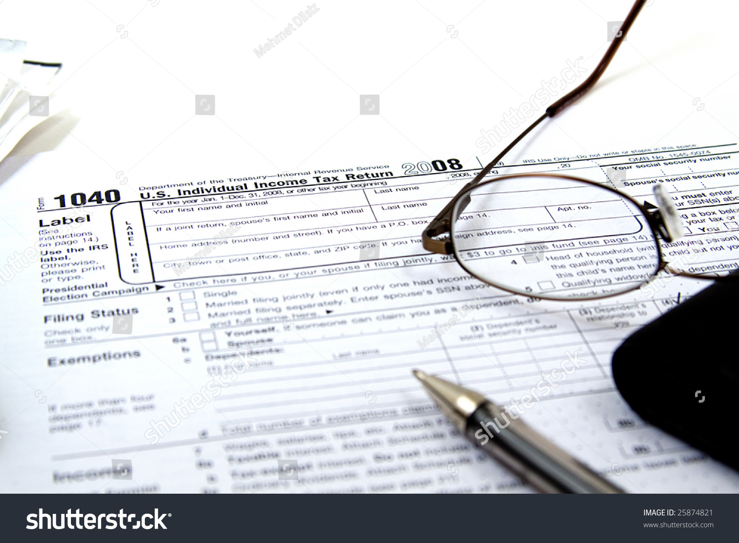 Preparing taxes form 1040 2008 stock photo 25874821 shutterstock preparing taxes form 1040 for 2008 falaconquin