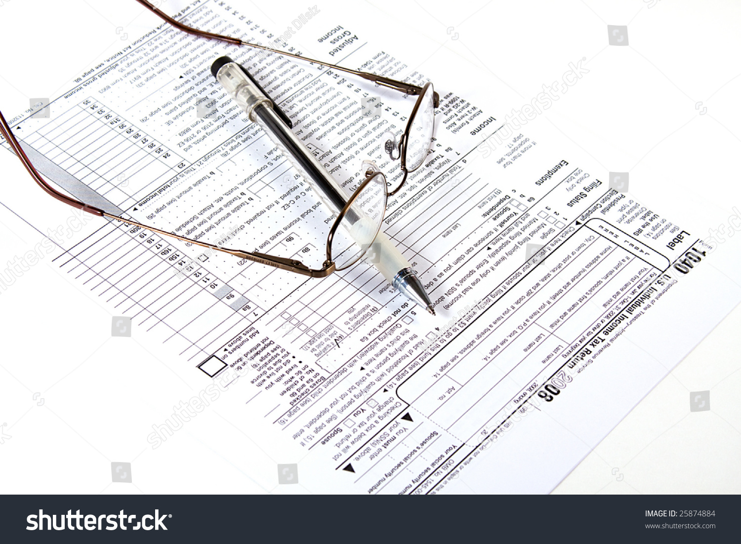 Preparing taxes form 1040 2008 stock photo 25874884 shutterstock preparing taxes form 1040 for 2008 falaconquin