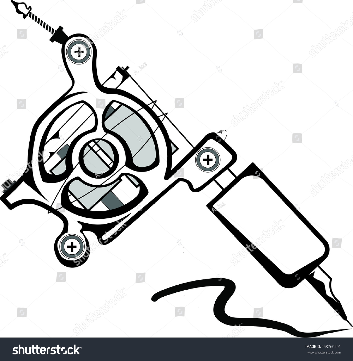 Coil Tattoo Machine Isolated On White Stock Vector Royalty Free Diagram Also As Well