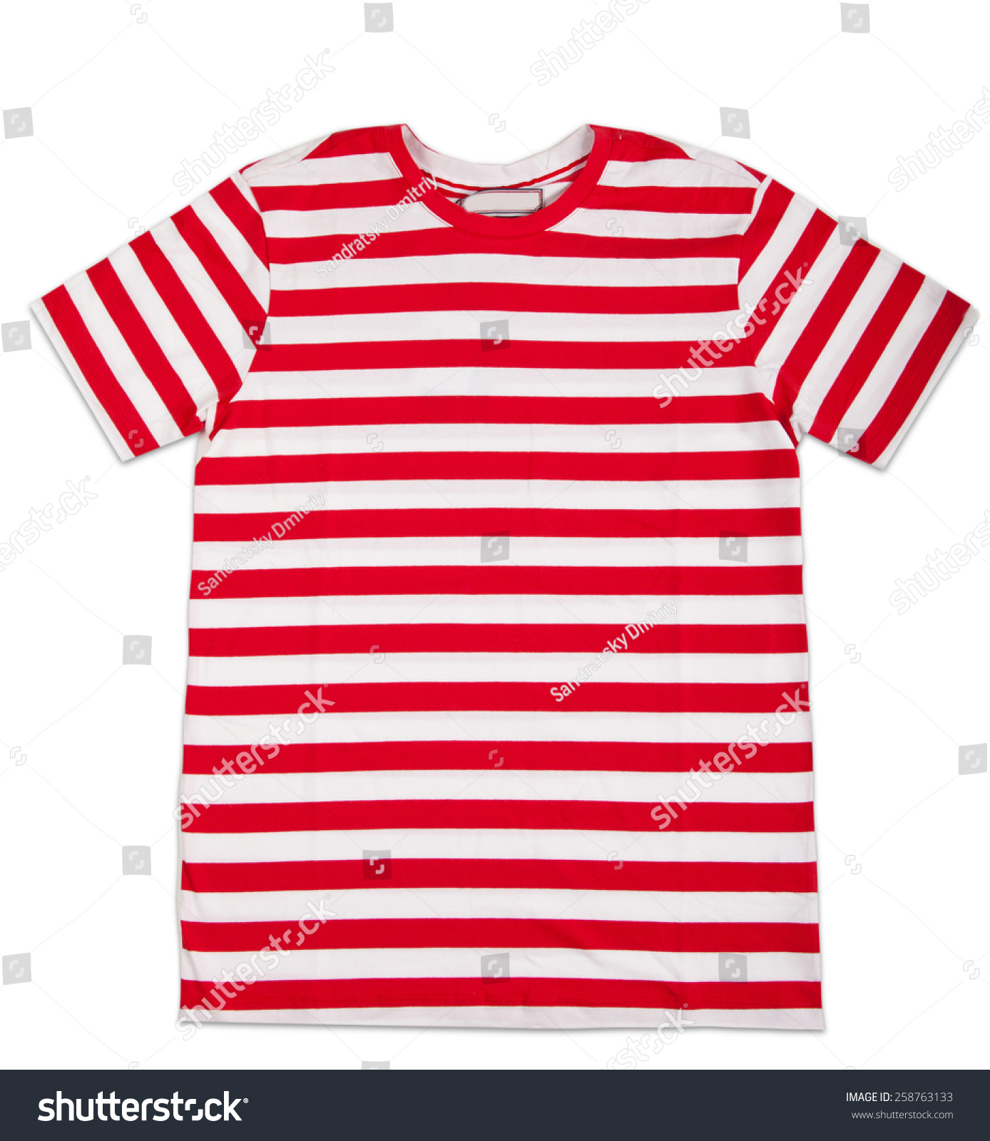 Red Stripes Tshirt Template Isolated On White T Shirt Template