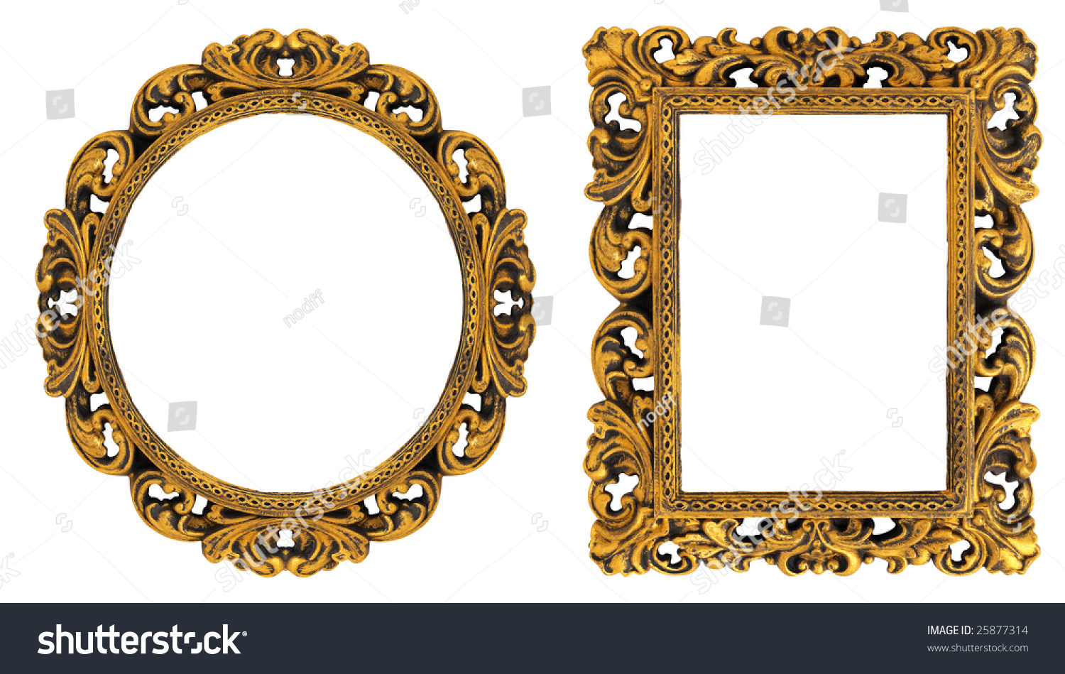 oval rectangular gold picture frame decorative stock photo g