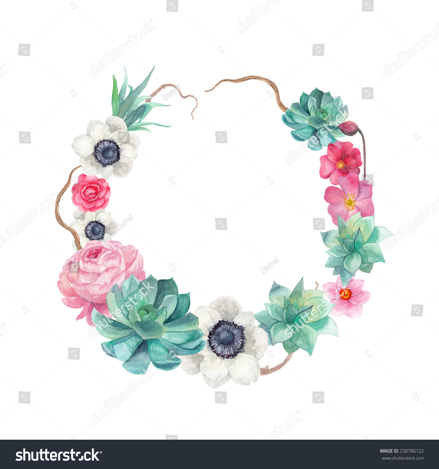 Round frame with decorative branch vector illustration stock -  Vectors Illustrations Footage Music Watercolor Succulents And Flowers Wreath Vintage Round Frame With Tree Branch Peony Roses