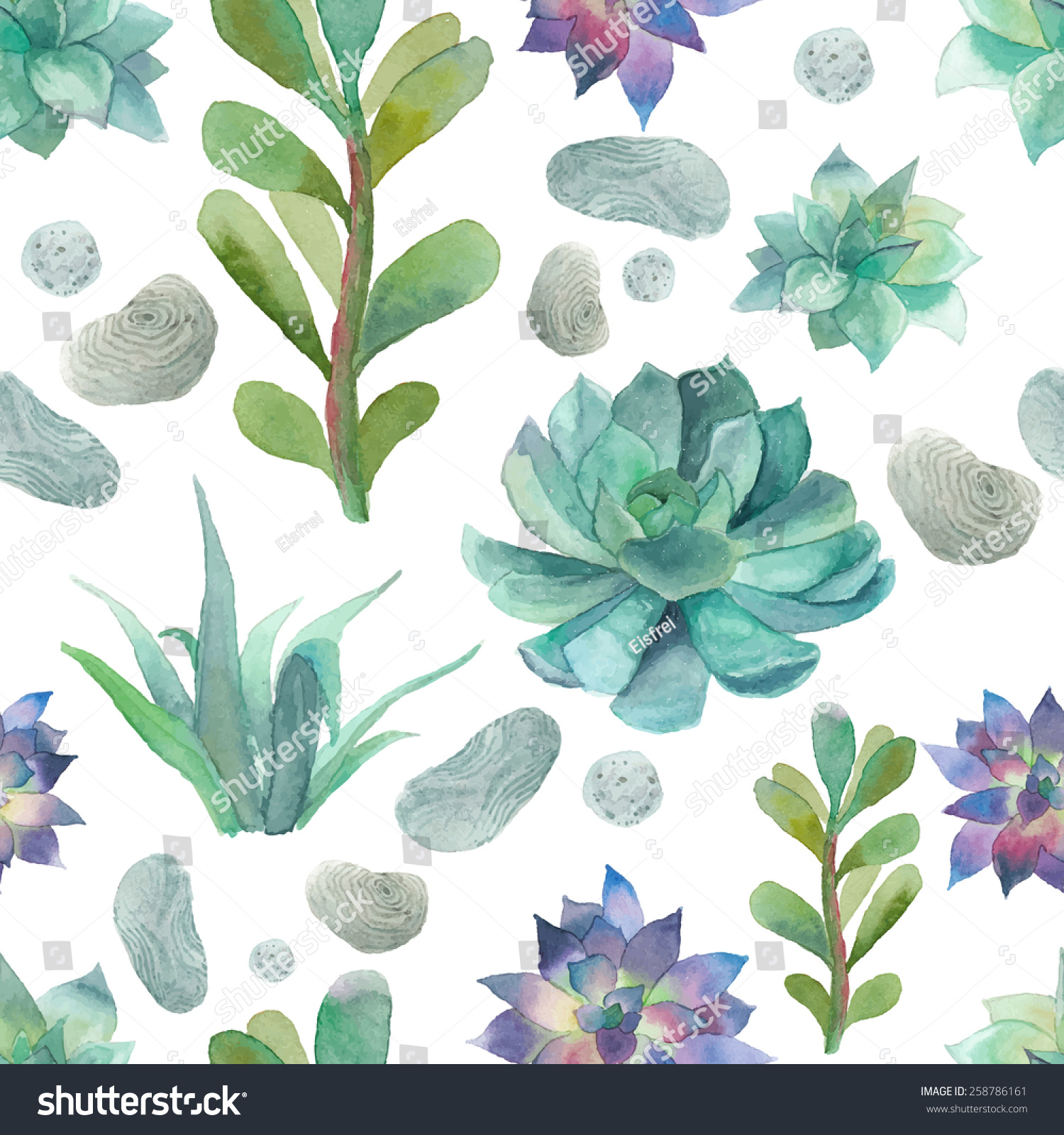 Watercolor Succulents Pattern Seamless Texture Objects Stock Vector Royalty Free 258786161