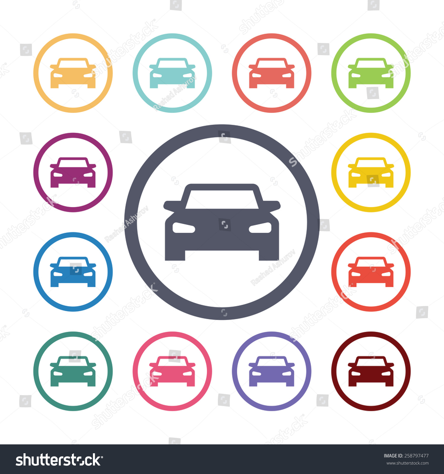 car flat icons set open colorful stock illustration 258797477 shutterstock. Black Bedroom Furniture Sets. Home Design Ideas