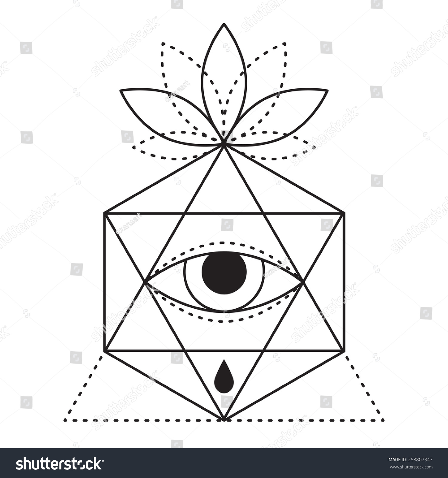 trendy style geometric tattoo design hipster stock vector (royalty