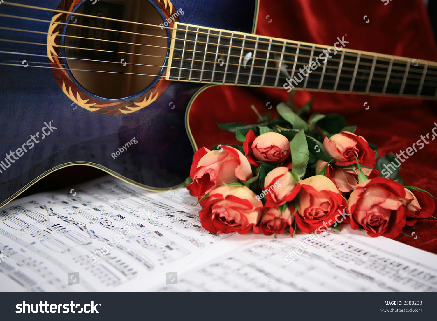 Red Rosesblue Acoustic Guitar Sheet Music Stock Photo Edit Now