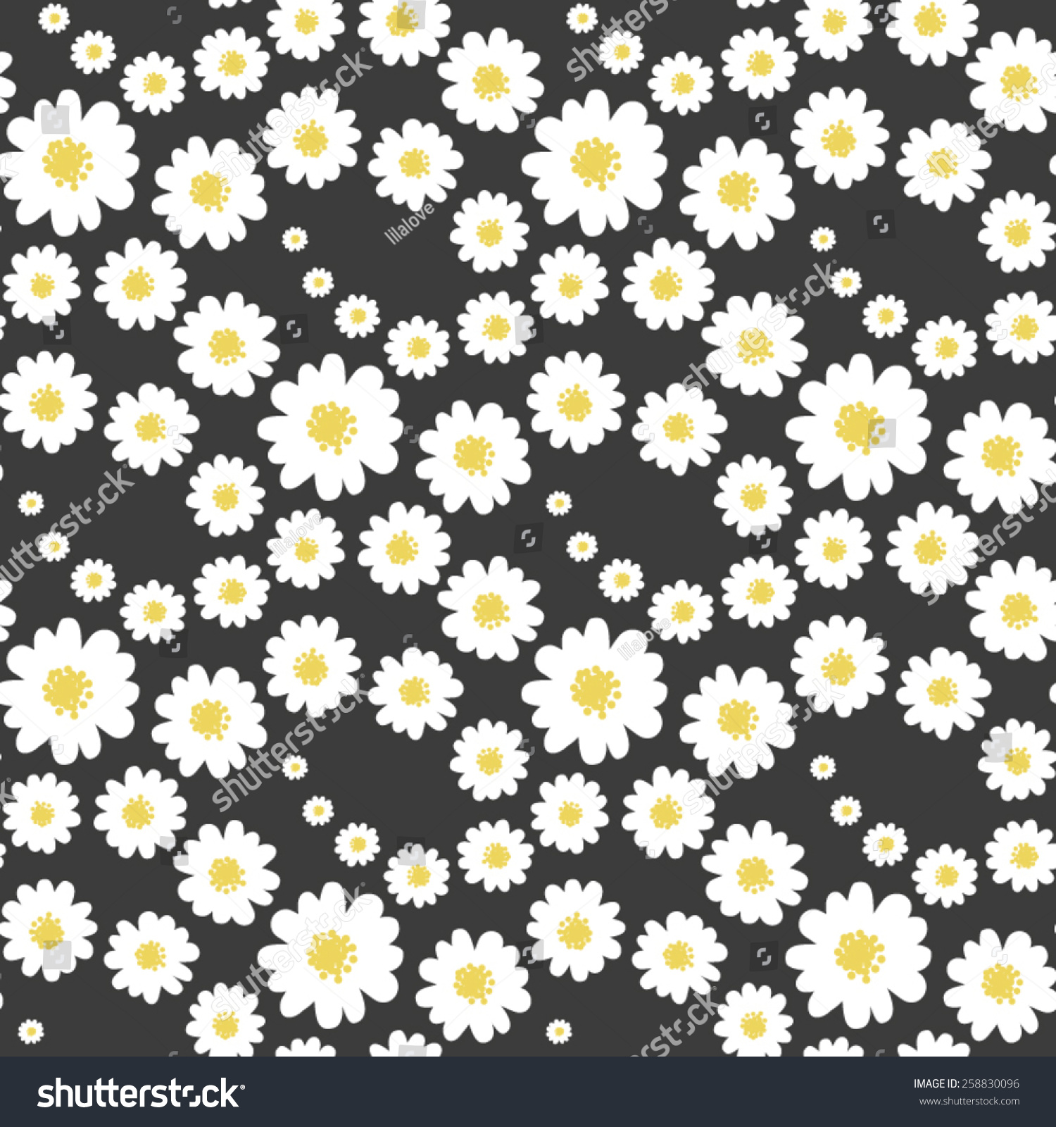 White Daisies Flower Seamless Pattern On Stock Vector Royalty Free