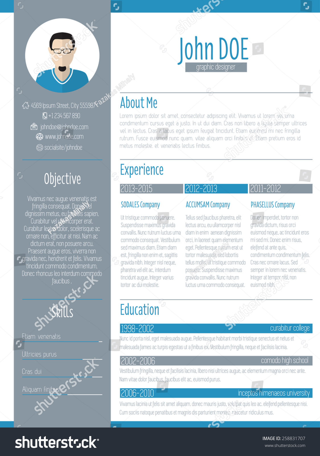 modern resume curriculum vitae cv design with photo
