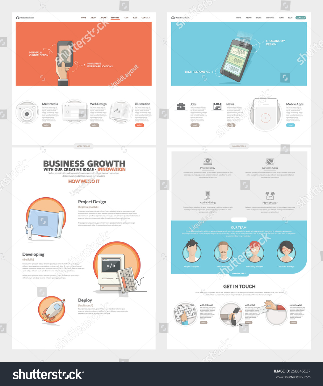Two Page Website Design Template Concept Vector 258845537 – Company Portfolio Template